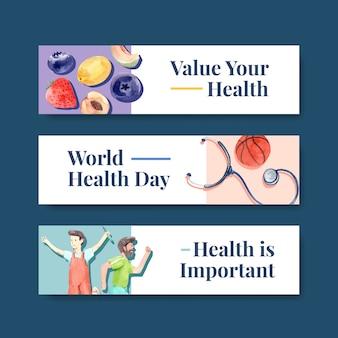 Шаблон баннера с концептуальным дизайном всемирного дня психического здоровья для рекламы и акварельной листовки