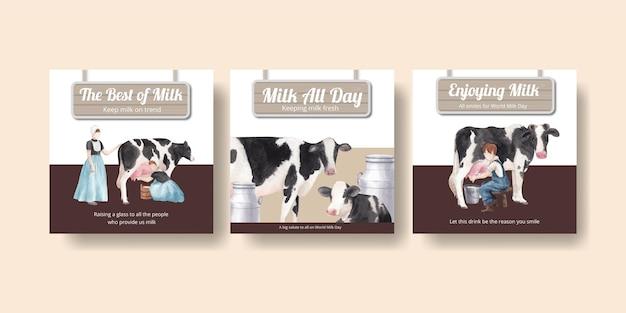 世界のミルクの日のコンセプト、水彩スタイルのバナーテンプレート