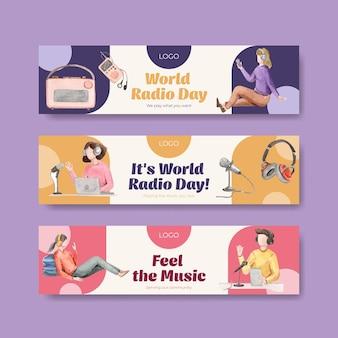 水彩イラストの宣伝とマーケティングのための世界のラジオの日のコンセプトデザインのバナーテンプレート