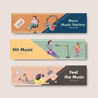 광고 및 마케팅 수채화 그림을위한 세계 라디오의 날 컨셉 디자인 배너 템플릿