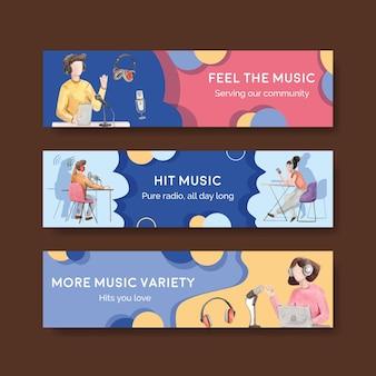 Шаблон баннера с концептуальным дизайном всемирного дня радио для рекламы и маркетинга акварельной иллюстрации