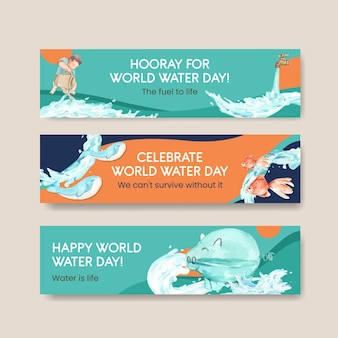 Banner template with world water day concept design for advertise and marketing watercolor illustration