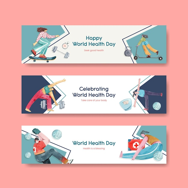 Banner template for world health day in watercolor style