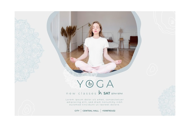 Banner template for yoga practicing