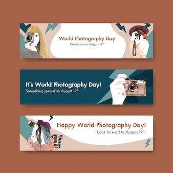 世界写真デーのバナーテンプレート