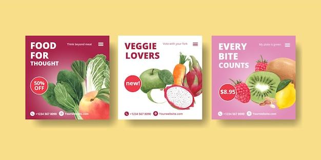 Шаблоны баннеров к всемирному вегетарианскому дню в стиле акварели