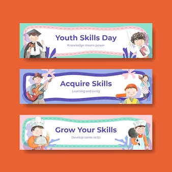 Banner templates set with world youth skills day concept, watercolor style