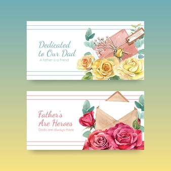 Banner templates with father's day concept in watercolor style