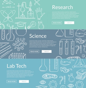 Banner templates with hand drawn science elements