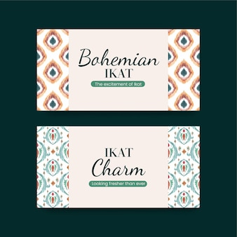 Banner templates with ikat concept in watercolor style