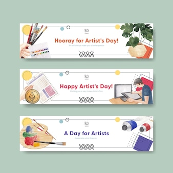 Шаблоны баннеров с международным днем художника в акварельном стиле