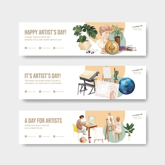 Banner templates with international artists day in watercolor style