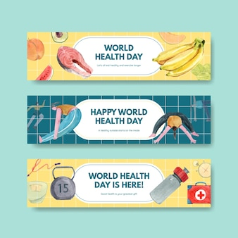 Banner templates for world health day in watercolor style