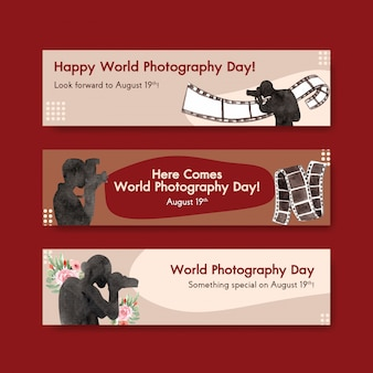 Banner templates for world photography day