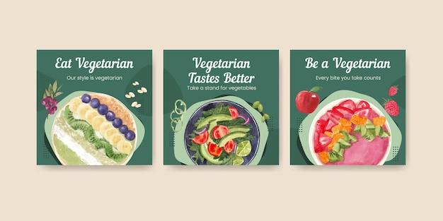Modelli di banner per la giornata mondiale vegetariana in stile acquerello