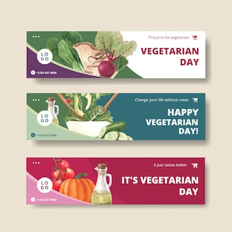 Banner templates for world vegetarian day in watercolor style