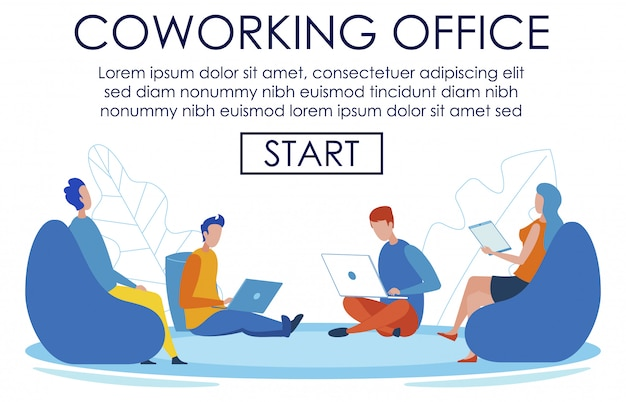 Banner text page advertising coworking office