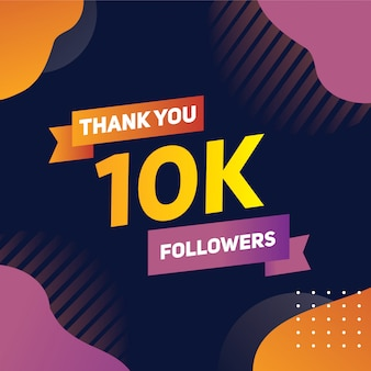 Banner of thank you for ten thousand followers on social media orange purple gradient