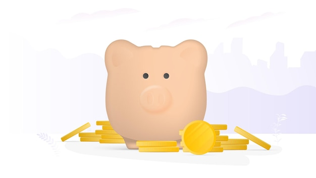 Banner on the theme of finance. pink piggy bank in the form of a pig with gold coins. piggy bank for money with a mountain of coins. vector.