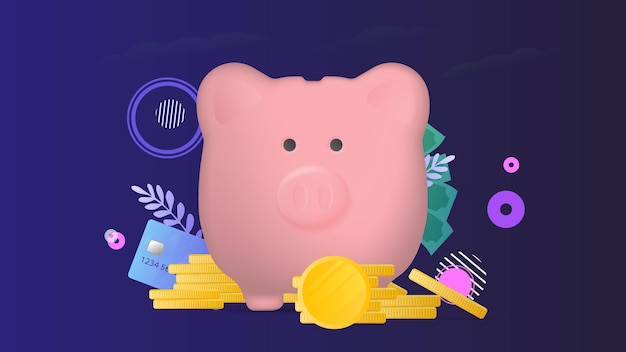 Banner on the theme of finance. pink piggy bank in the form of a pig with gold coins.
