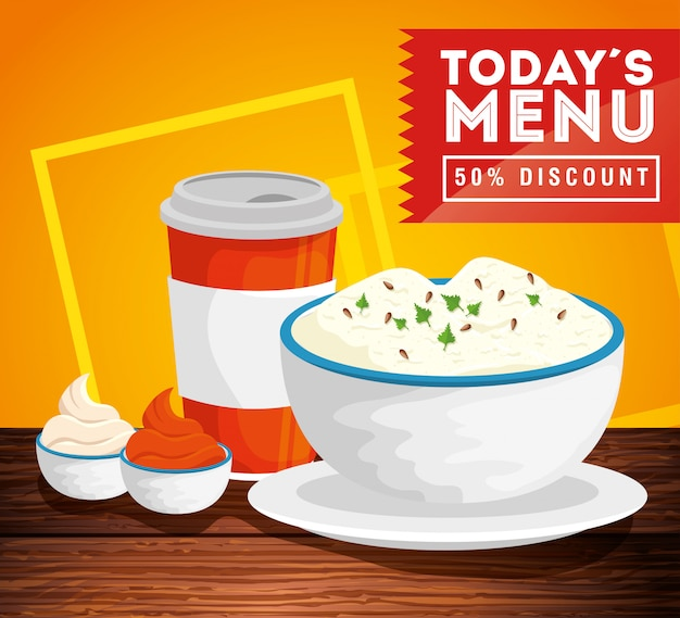 Banner of today menu with fifty discount and delicious food