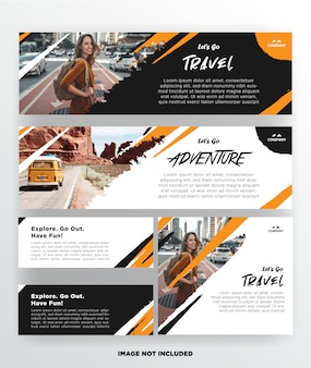 Banner travel template with grunge design