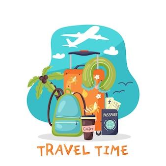 Баннер время путешествия чемодан рюкзак паспорт