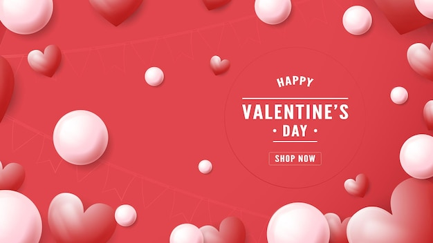 Banner   for valentine's day. text space is on right side.   illustration is in paper cut style.