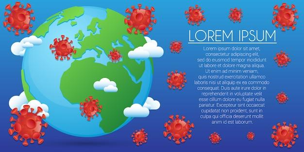 バナーウイルスの背景。医療用コロナウイルスの絵文字。編集可能なテンプレートウイルス感染。
