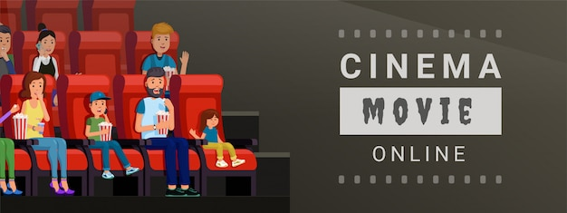 Banner for watching cinema movie online at home and on mobile vector illustration. film strip design flat style concept