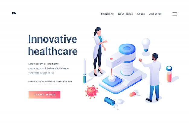 Banner of web page about innovative healthcare with doctors