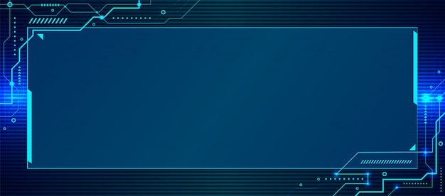 Banner web template abstract blue technology geometric circuit background