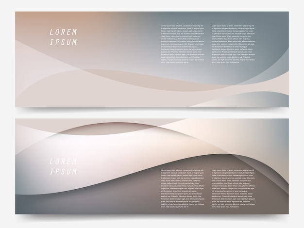 Banner with abstract wave background set