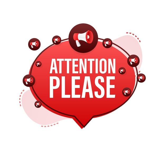 Баннер с вниманием, пожалуйста, красный, пожалуйста, подпишите значок восклицательный знак опасности