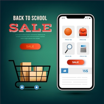Banner with back to school sales