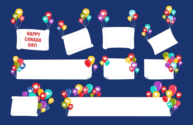 Banner with balloon happy canada day flat set, colorful helium groups helium air balloons template