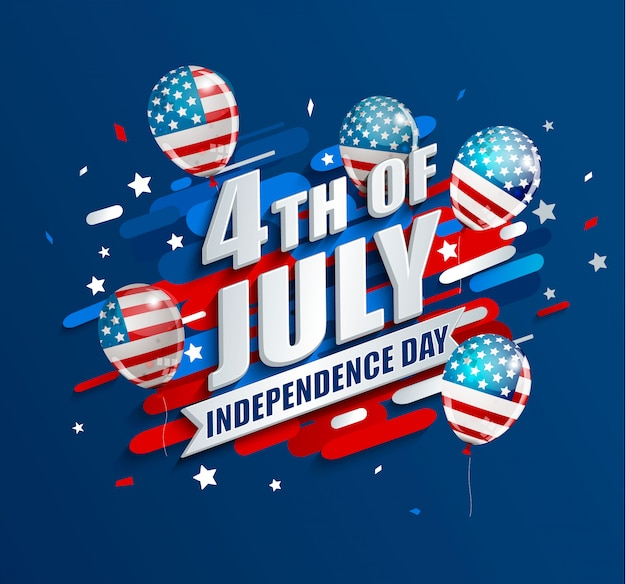 Banner with balloons for independence day of the usa