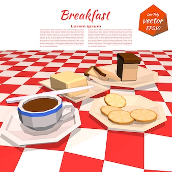 Banner with breakfast on the table