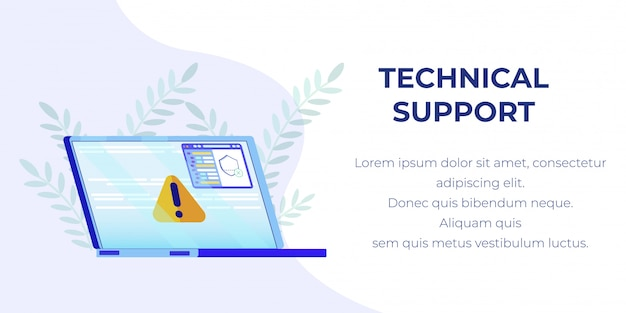 Banner with broken laptop offer technical support