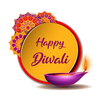 Banner with burning diya with indian rangoli on happy diwali holiday on for light festival of india. happy deepavali day template banner. holiday decoration elements deepavali oil lamp.