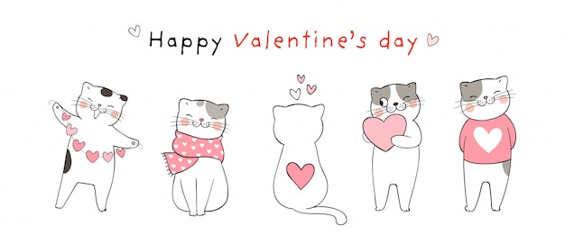 Banner with cats for valentine's day