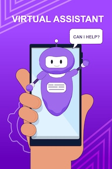 Banner with chat bot virtual assistant for mobile
