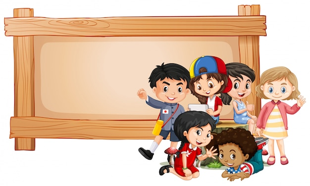 Banner with children and wooden frame