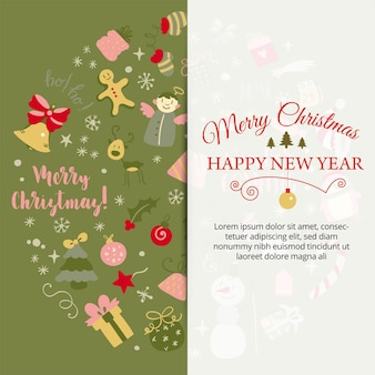 Banner with christmas design elements in doodle style christmas post card callygraphic logotype vector