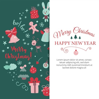낙서 스타일 크리스마스 엽서 벡터에서 크리스마스 디자인 요소와 배너