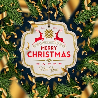Banner with christmas greeting and golden foil confetti on a christmas tree branches background.