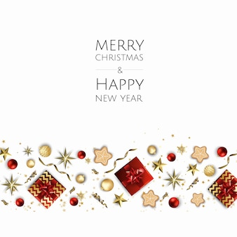 Banner with christmas tree branches, gold stars, christmas balls and space for text,