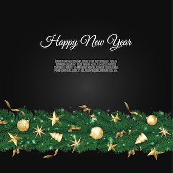 Banner with christmas tree branches and space for text, realistic fir-tree border,