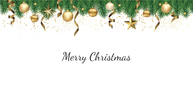 Banner with christmas tree branches and space for text,