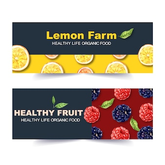 Banner with classic fruits theme, creative lemon and berry watercolor illustration.